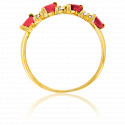 Bague or jaune 9K rubis & zirconium