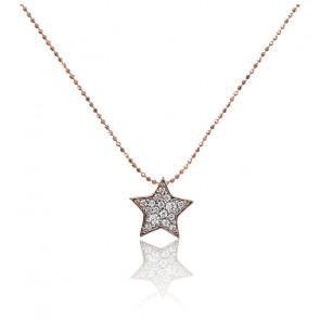 Collier étoile doré rose 18K