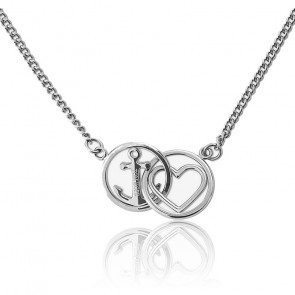 Collier love and hope silver