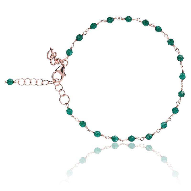 Bracelet amorette agate verte