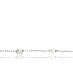 Bracelet or blanc 9K & perles blanches