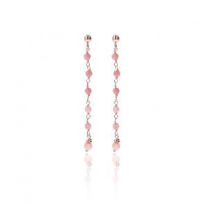 Boucles d'oreilles amorette quartz rose