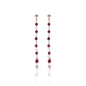 Boucles d'oreilles amorette agate rouge