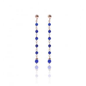 Boucles d'oreilles amorette agate bleue