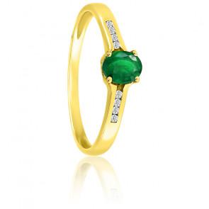 Bague, Or jaune 18K, diamants & émeraude