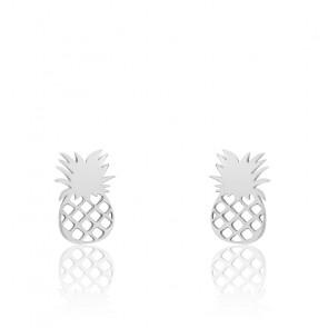 Boucles d'oreilles fantaisie ananas, or blanc 9 carats