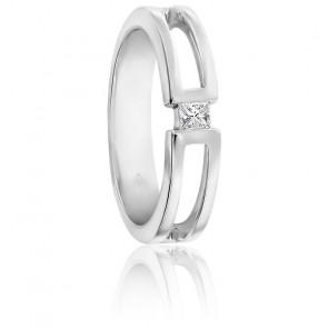 Chevalière or blanc 9K & diamant princesse