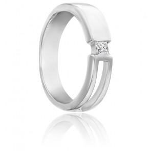 Chevalière corps ouvert or blanc 9K & diamant