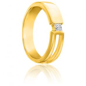 Chevalière corps ouvert or jaune 9K & diamant