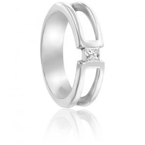 Chevalière or blanc 9K & diamant 0,18cts
