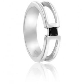 Chevalière or blanc 9K & diamant noir 0,18 ct