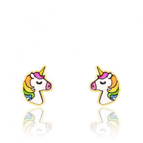Boucles d'oreilles licorne or 9K & email