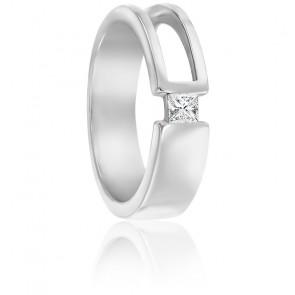 Chevalière moderne or blanc 9K & diamant