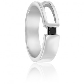 Chevalière moderne or blanc 9K & diamant noir