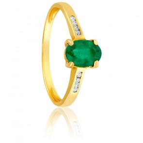 Bague émeraude or jaune 18K & diamants