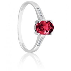 Bague rubis or blanc 18K & diamants
