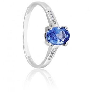 Bague saphir ceylan or blanc 18K & diamants