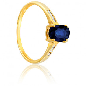 Bague saphir noir or jaune 18K & diamants