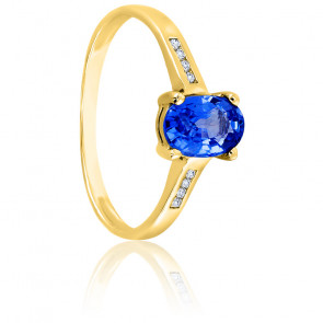 Bague tanzanite or jaune 18K & diamants 0,06ct