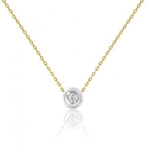 Collier diamant or jaune & or blanc 9K