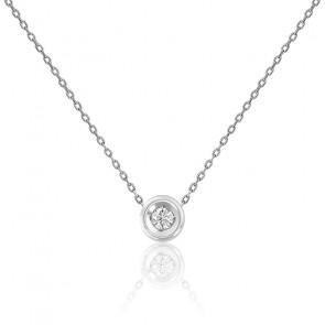 Collier or blanc 9K & diamant 0,08 ct