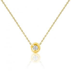 Collier or jaune 9K & diamant 0,08 ct