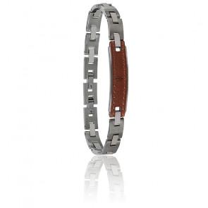 Bracelet acier et cuir, JM218AMD01