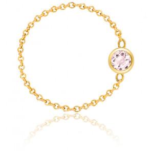 Bague chaîne or jaune 18K & quartz rose 0,25 ct