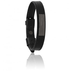 Bracelet acier & cuir, JM218AMF05