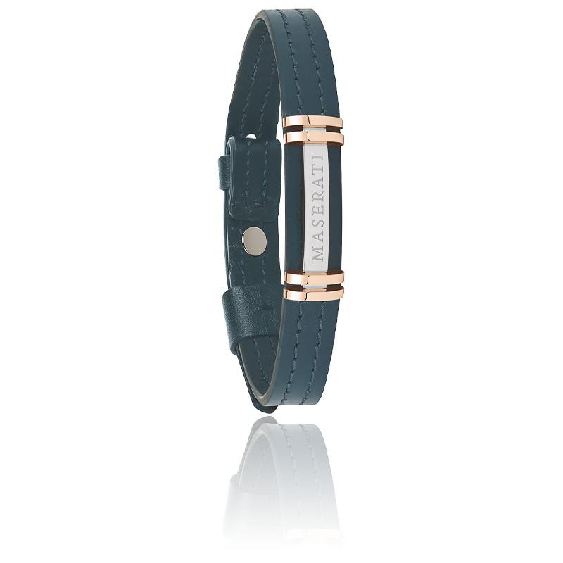 Bracelet acier, cuir & PVD, JM418ANL07