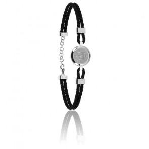 Bracelet acier, email & cuir, JM217AJF27