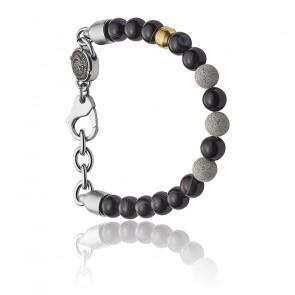 Bracelet Beads acier perles noires DX1192040