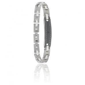 Bracelet acier et cuir, JM218AMD02