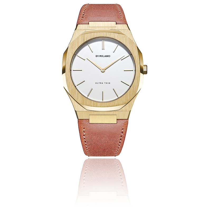 Montre Ultra Thin Rustin Leather Strap and Eggshell Dial UTLL06
