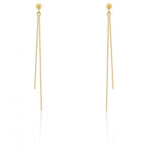 Boucles d'oreilles chaîne or jaune 18K