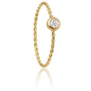 Bague Torsadée Or Jaune 18K & Diamant