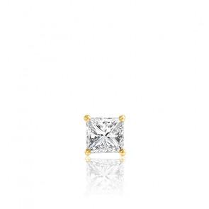 1 Puce d'Oreille Diamant Princesse & Or Jaune 18K