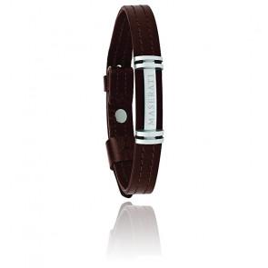 Bracelet acier & cuir, JM418ANL08