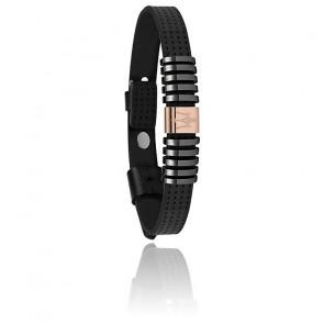 Bracelet cuir, acier & PVD, JM418ANJ02