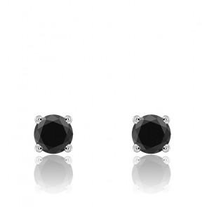Puces d'oreilles diamants noirs et or blanc 18 carats
