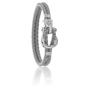 Bracelet Phinity shackle, cuir gris