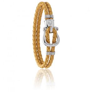 Bracelet Phinity shackle, cuir jaune