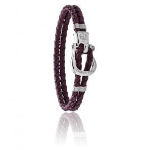 Bracelet Phinity cuir violet & acier