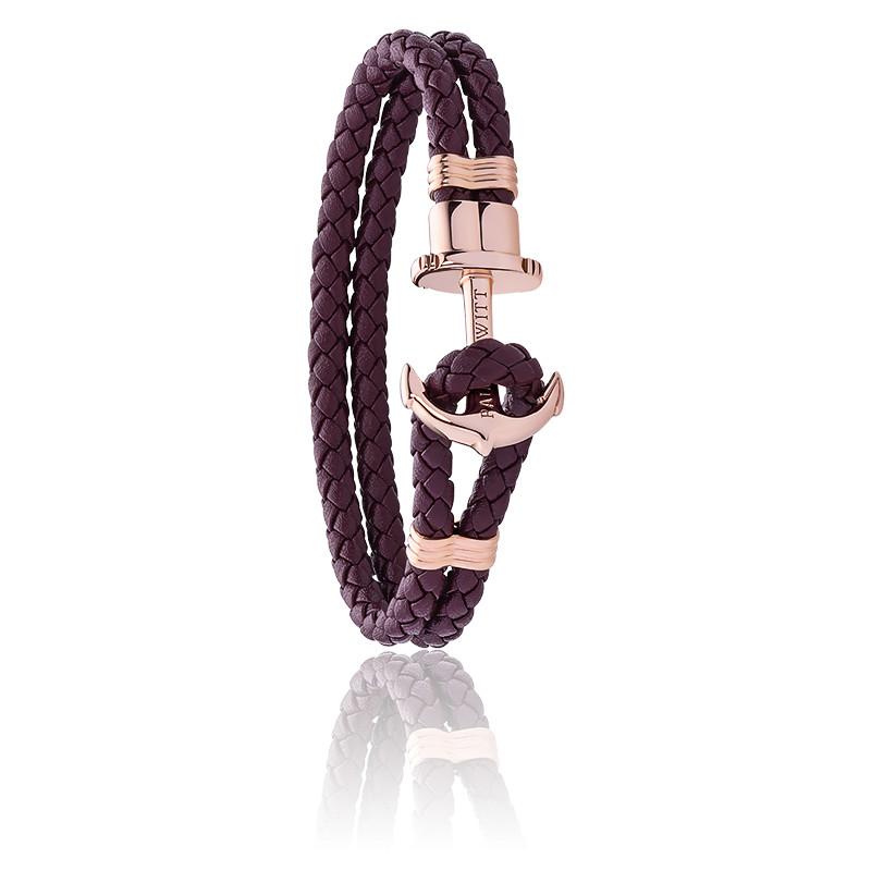 Bracelet Ancre Phrep or rose dark mauve doré