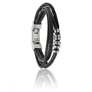 Bracelet vintage multi-rangs cuir noir, JF03183040