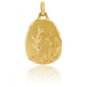 Médaille Vierge à l'Enfant Épi de Blé Facettée Or Jaune 18K