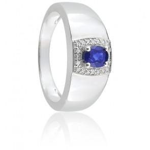 Bague Sophia Or Blanc, Saphir & Diamant