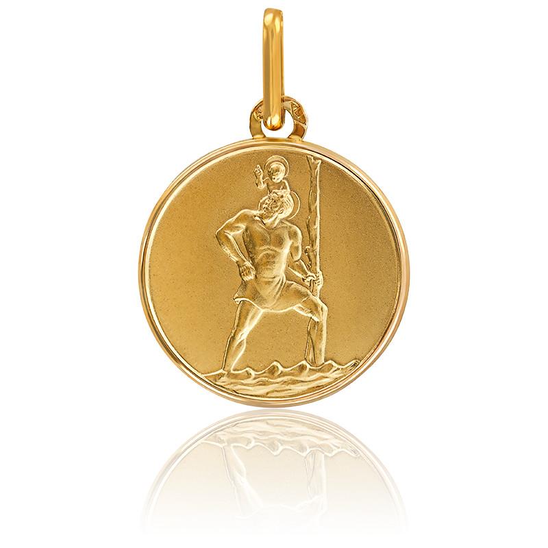 Médaille Saint-Christophe ⌀17mm, or jaune 9K ou 18K