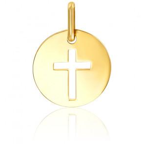 Médaille croix ajourée, or jaune 9K ou 18K