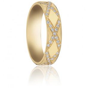 Alliance Croisée Or Jaune 18K et Diamants